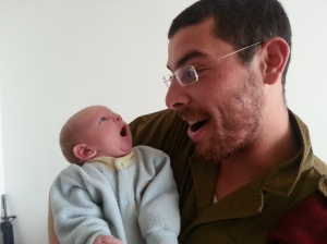 Me and my newest cousin, Nachum Hirsch, Chaim and Ruthy's son. I'm on the right.
